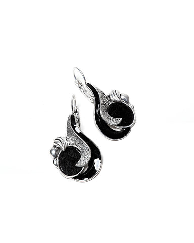 Black Enamel Fantasy Earrings - Jezzelle