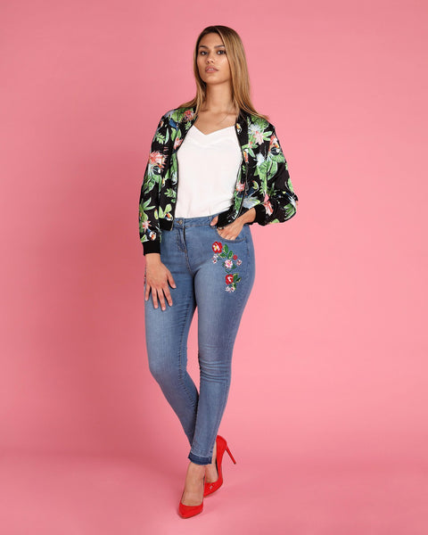 Floral Printed Thin Bomber Jacket - jezzelle  - 6