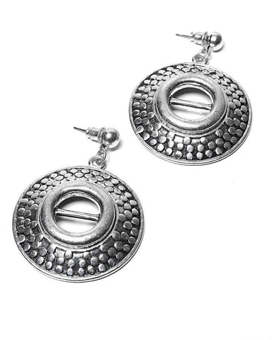 Embossed Metal Disc Earrings - Jezzelle