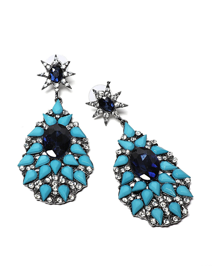 Starburst Blue Teardrop Earrings-Jezzelle
