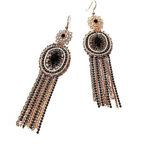Vintage Black & Gold Drop Earrings-Jezzelle