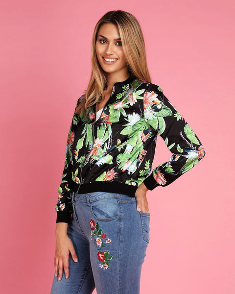 Floral Printed Thin Bomber Jacket - jezzelle  - 4