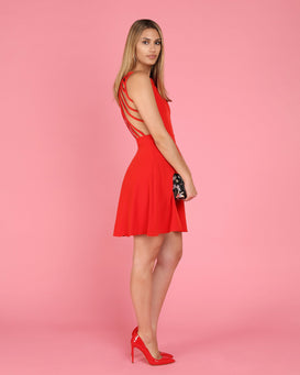 Strappy Back Red Skater Dress - jezzelle  - 6