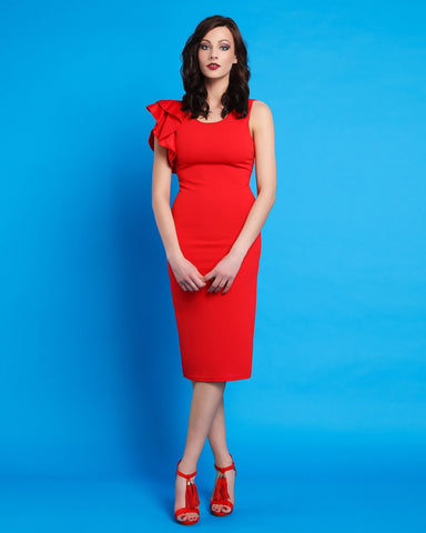 Ruffle Shoulder Red Midi Dress - Jezzelle