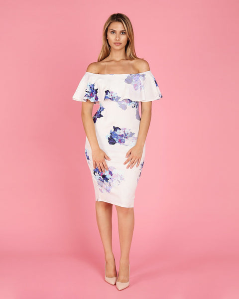 Floral Bardot Frill Bodycon Midi Dress - Jezzelle