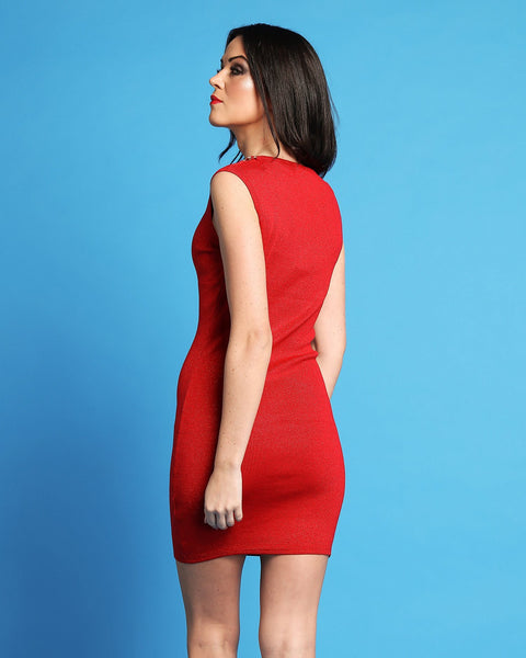 Shimmer Red Bodycon Dress With Chain Detail-Jezzelle