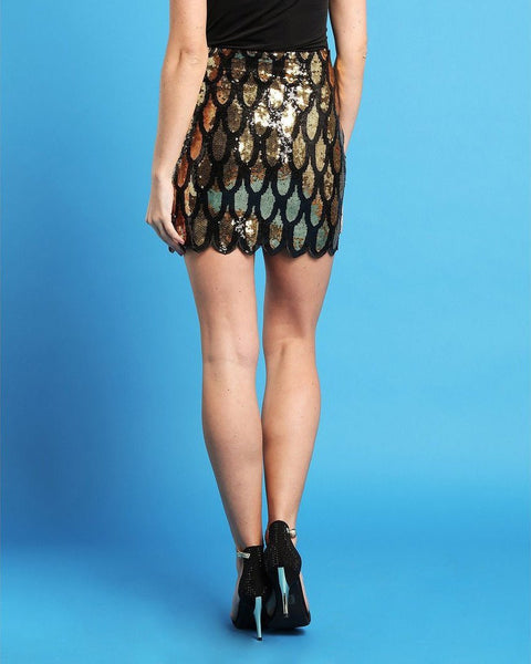 Sequins Scallop Skirt-Jezzelle