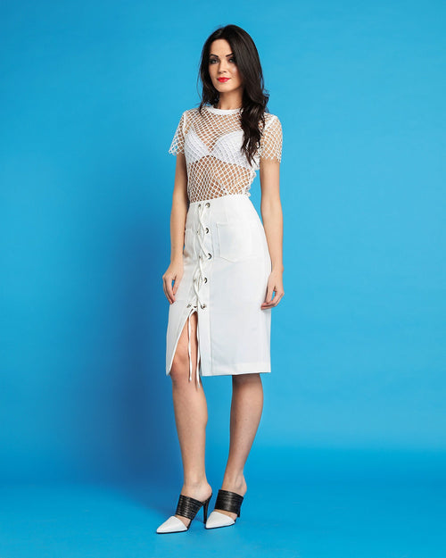 White Midi Skirt-Jezzelle