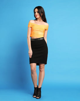 Zipper Midi Skirt-Jezzelle