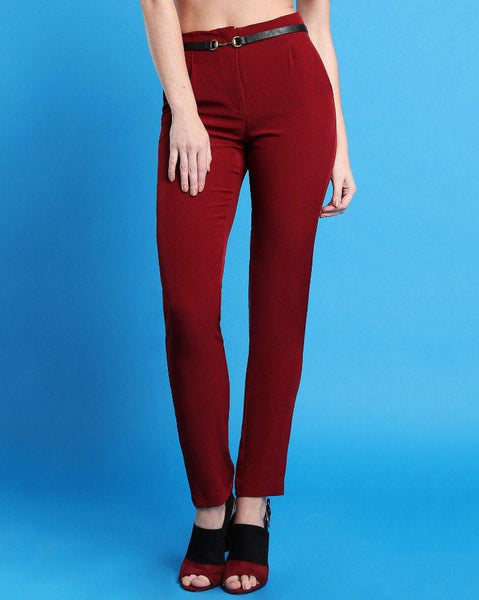 Smart Wine Trousers-Jezzelle