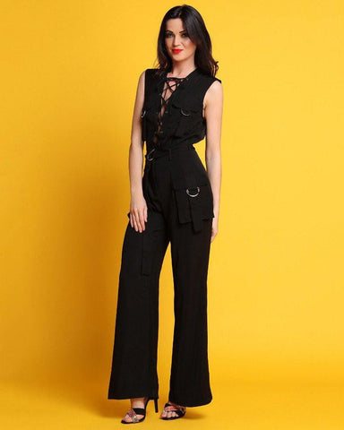 Lace Up Flared Leg Jumpsuit-Jezzelle