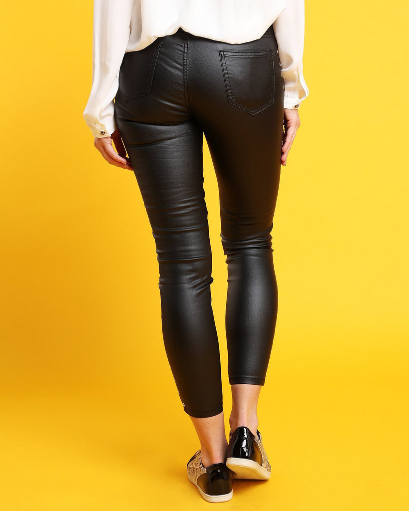 Eyelets Faux Leather Trousers - jezzelle  - 3