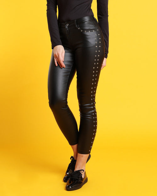 Eyelets Faux Leather Trousers - jezzelle  - 4
