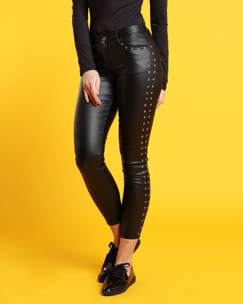 Eyelets Faux Leather Trousers - Jezzelle