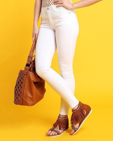 High-waisted Skinny White Jeans - Jezzelle