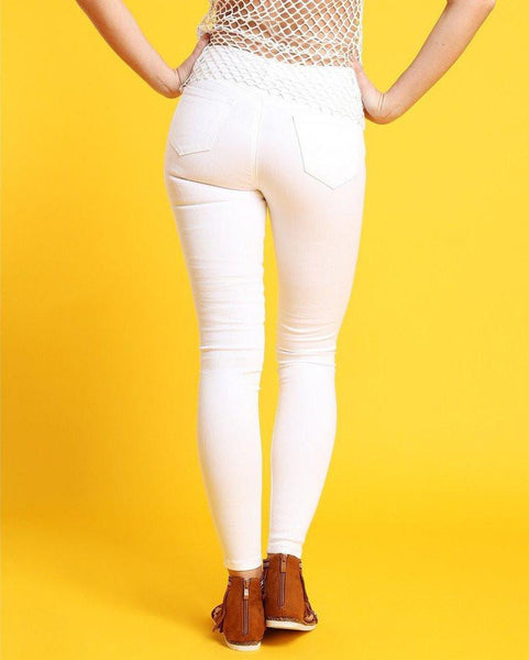 High-waisted Skinny White Jeans-Jezzelle