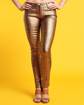 Gold Snake Print Faux Leather Trousers-Jezzelle