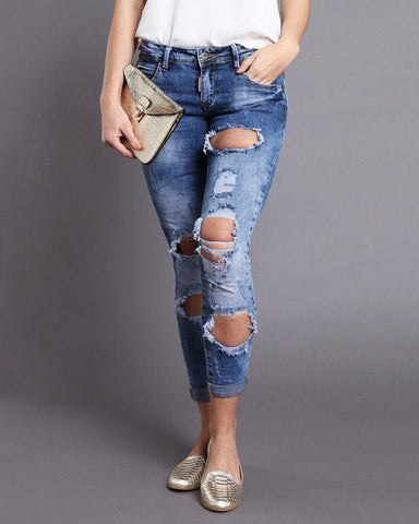 Low Rise Ripped Distressed Skinny Jeans-Jezzelle