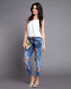Low Rise Ripped & Distressed Skinny Jeans - jezzelle  - 2