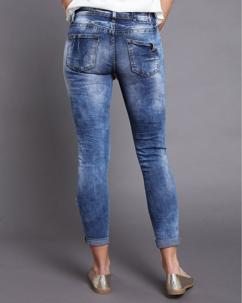 Low Rise Ripped & Distressed Skinny Jeans - jezzelle  - 3