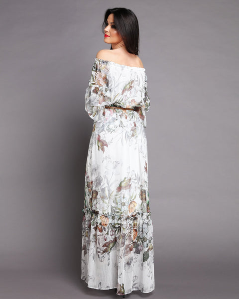 Romantic Off Shoulder Maxi Dress-Jezzelle