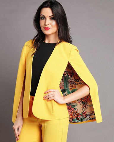 Yellow Cape Blazer-Jezzelle