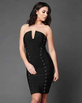 Eyelets & Lace Bandage Bandeau Dress - jezzelle  - 2