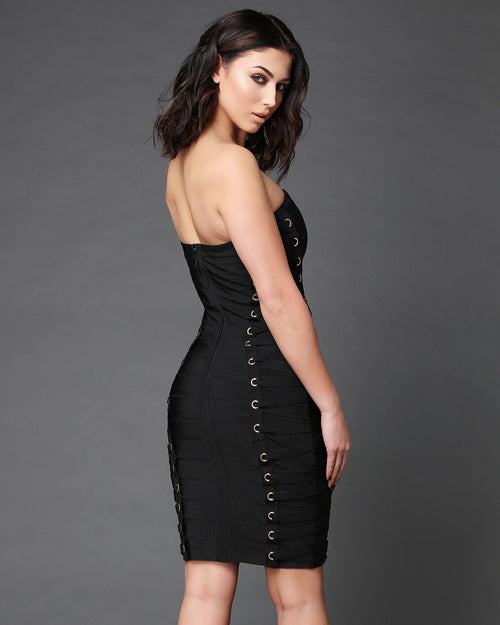Eyelets & Lace Bandage Bandeau Dress - jezzelle  - 4