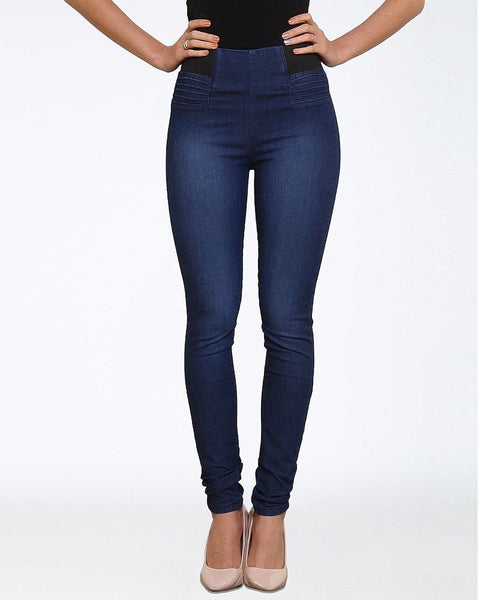 High Waisted Blue Jeggings - Jezzelle