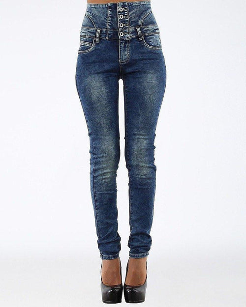 High Waisted Skinny Blue Jeans-Jezzelle