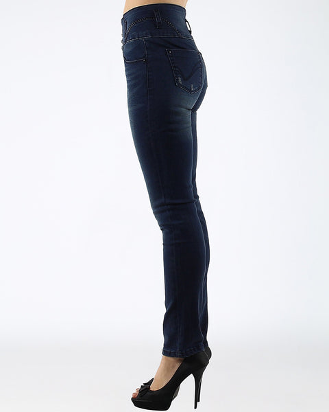 Distressed High Waisted Indigo Jeans - jezzelle  - 2