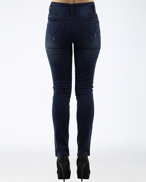 Distressed High Waisted Indigo Jeans - jezzelle  - 3