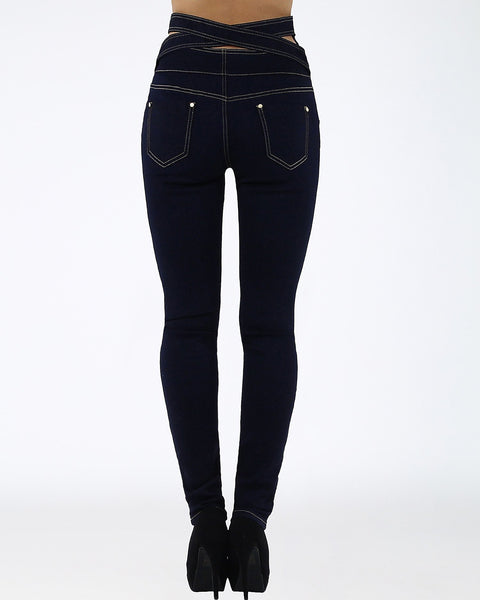 Cross Back High Waisted Dark Skinny Jeans - Jezzelle