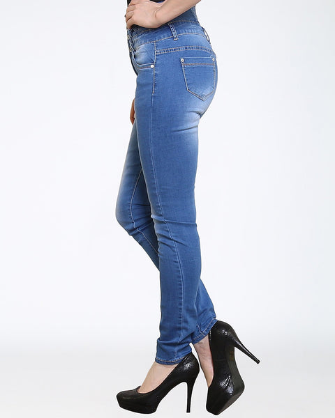 Blue High Waisted Skinny Jeans - jezzelle  - 3