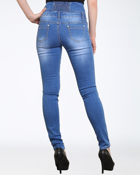 Blue High Waisted Skinny Jeans - jezzelle  - 4