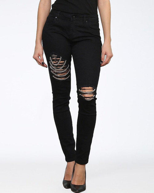 Rips Chains Skinny Black Jeans-Jezzelle