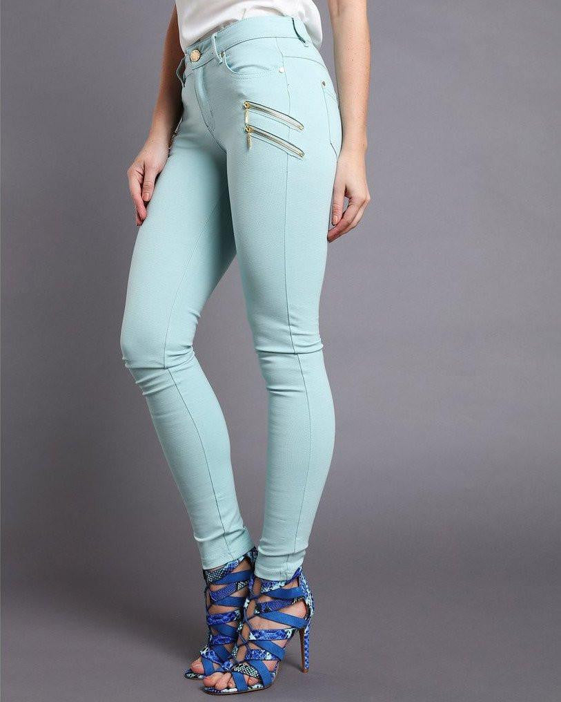 Gold Zips Turquoise Trousers-Jezzelle