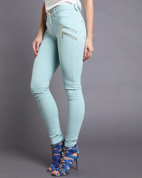 Gold Zips Turquoise Trousers - Jezzelle