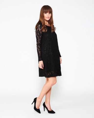 Black Lace Shift Dress - Jezzelle