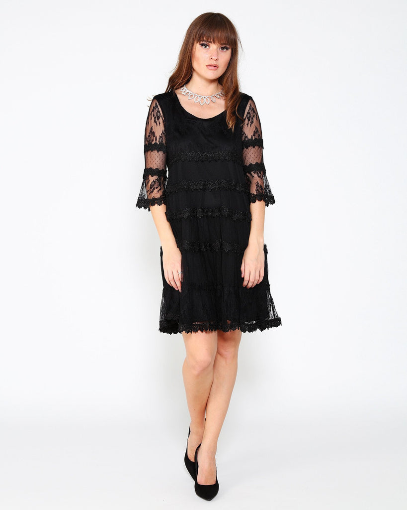 Black Mixed Lace Dress - jezzelle  - 1
