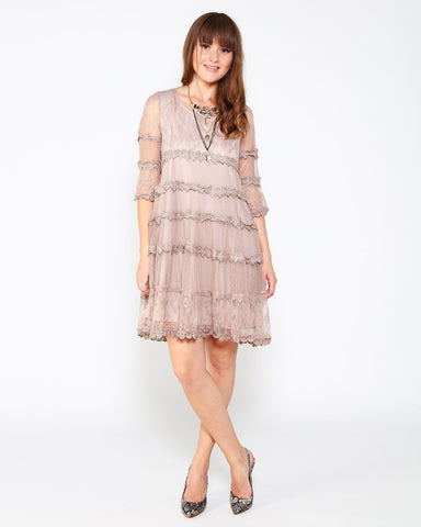 Neutral Mixed Lace Dress - Jezzelle