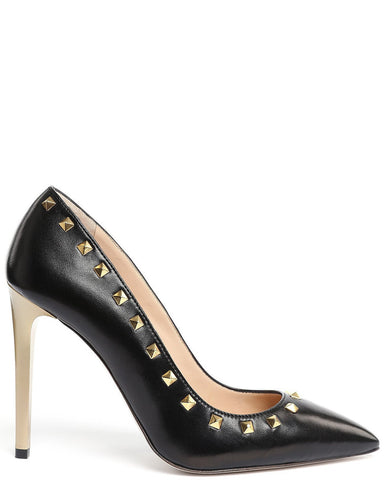 Studded Black Leather Pumps