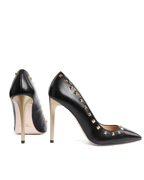 Studded Black Leather Pumps - jezzelle  - 4