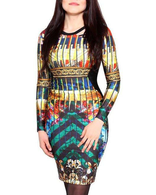 Multi Print Shine Dress With Front Cut Out Details-Jezzelle
