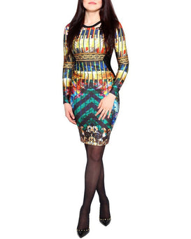Multi Print Shine Bodycon Dress-Jezzelle