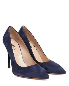 Navy Suede Leather Pumps - jezzelle  - 2