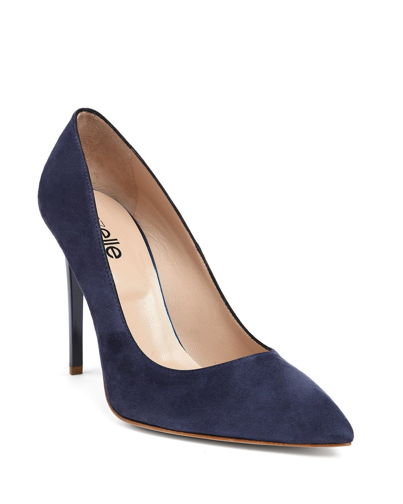Navy Suede Leather Pumps - jezzelle  - 3