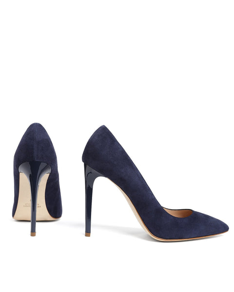 Navy Suede Leather Pumps - jezzelle  - 5