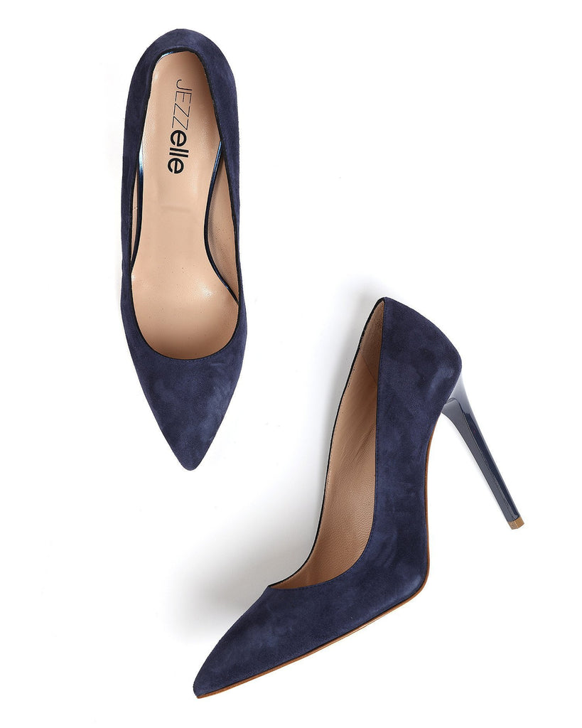 Navy Suede Leather Pumps - jezzelle  - 6