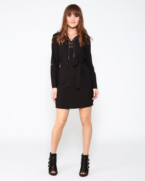 Chain Lace-up Long Sleeve Mini Dress-Jezzelle